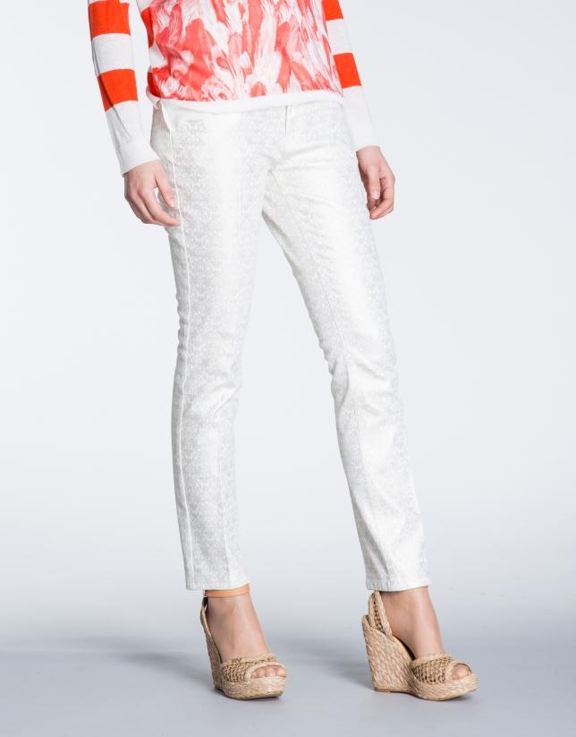 Gold print stretch pants