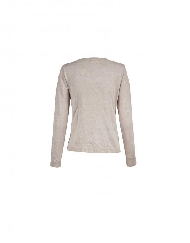 Beige round neck pullover