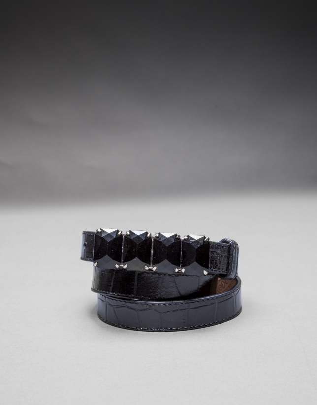 Ceinture fine cuir noir