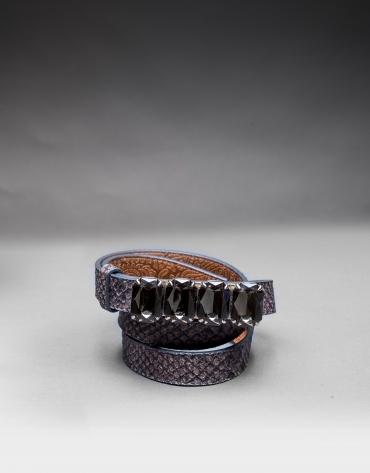 cinturon estrecho piel gris