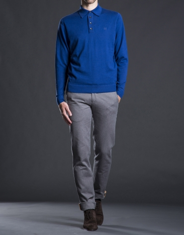Blue knit polo shirt