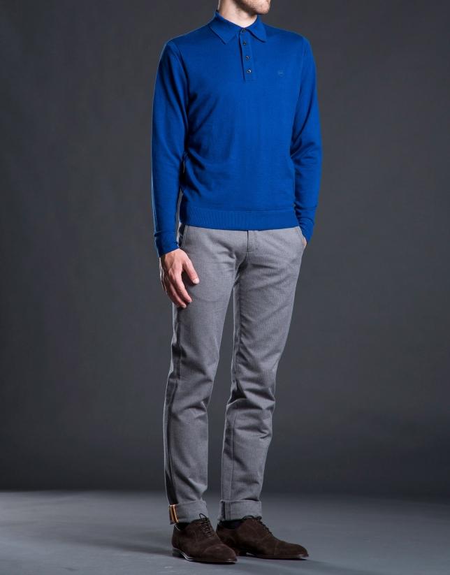 Polo maille piquée bleu