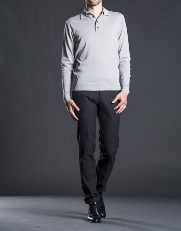 Gray knit polo shirt