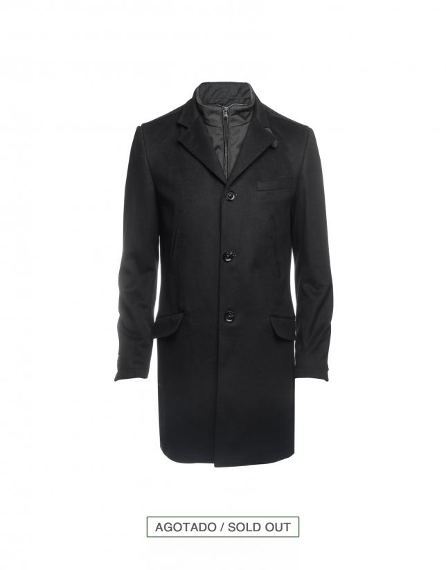 Abrigo lana y cashmere negro