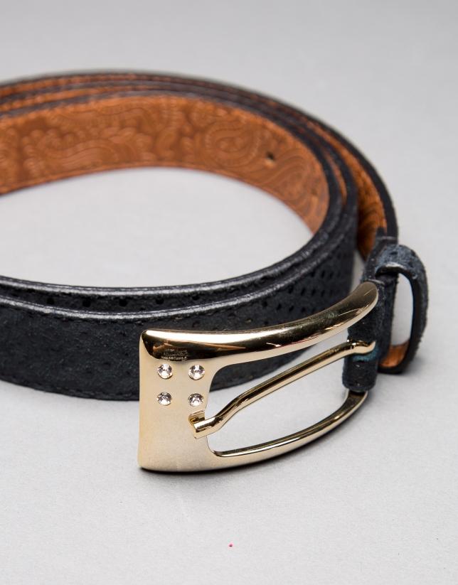 cinturon estrecho piel negro
