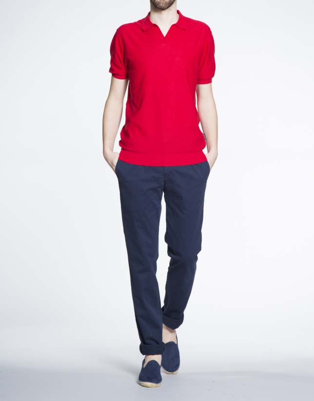 Polo en maille rouge
