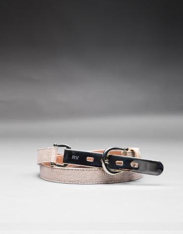 cinturon estrecho piel dorado