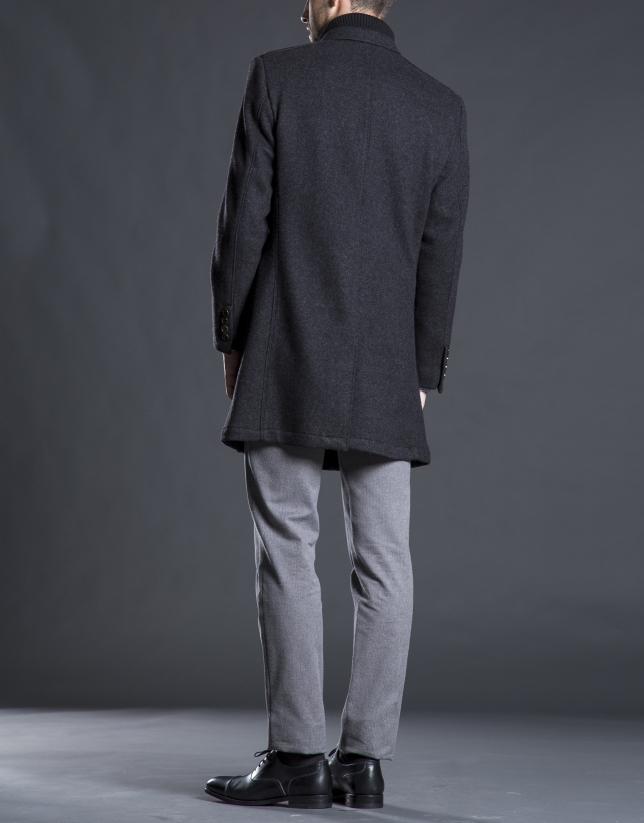 Abrigo pechera gris botones