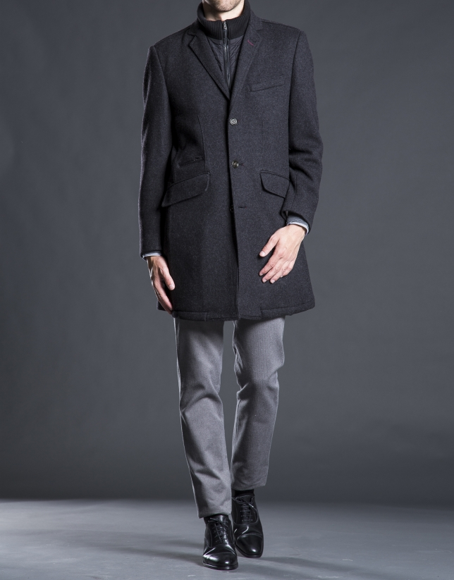 Gray buttoned overcoat