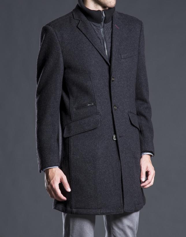 Manteau plastron gris avec boutons