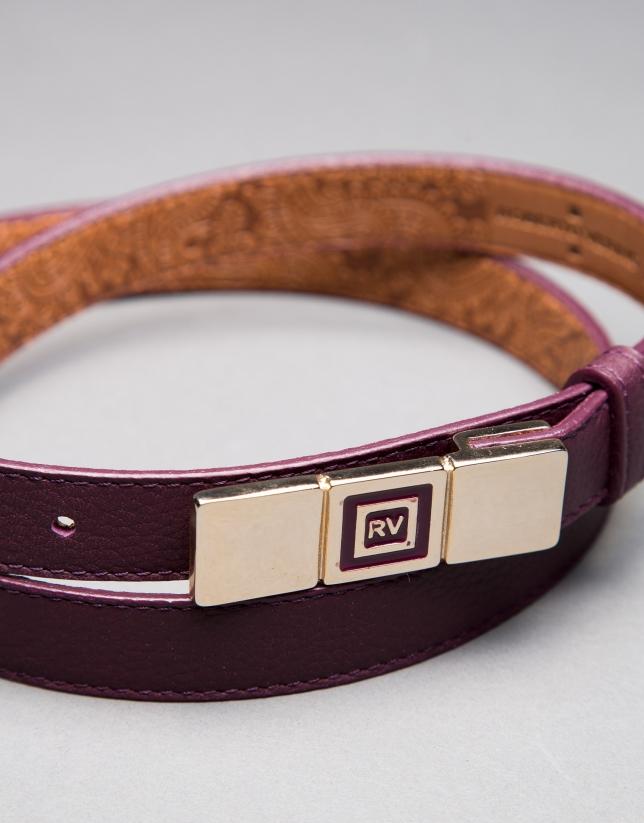 cinturon estrecho piel berenjena