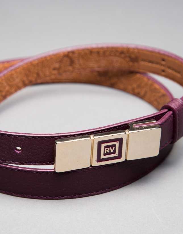 Narrow aubergine belt