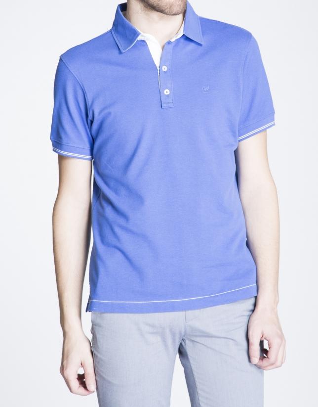 Polo en piquée bleu