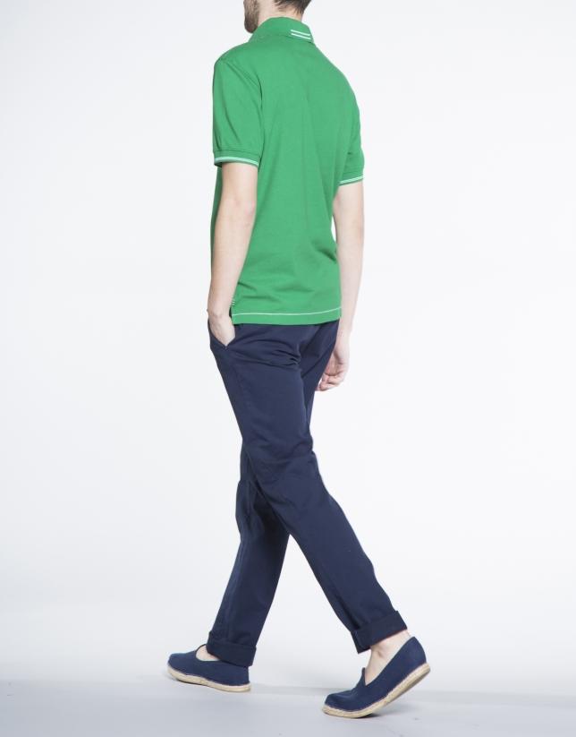Polo verde piqué