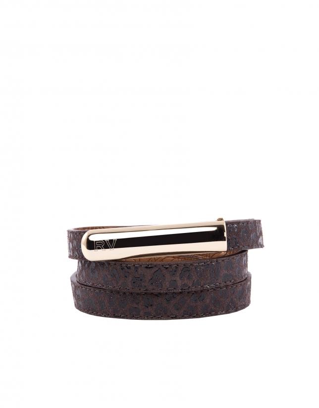 Cinturón serpiente marrón negro
