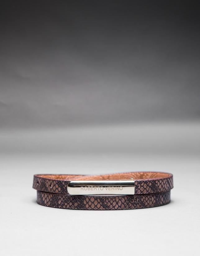cinturon estrecho piel marron