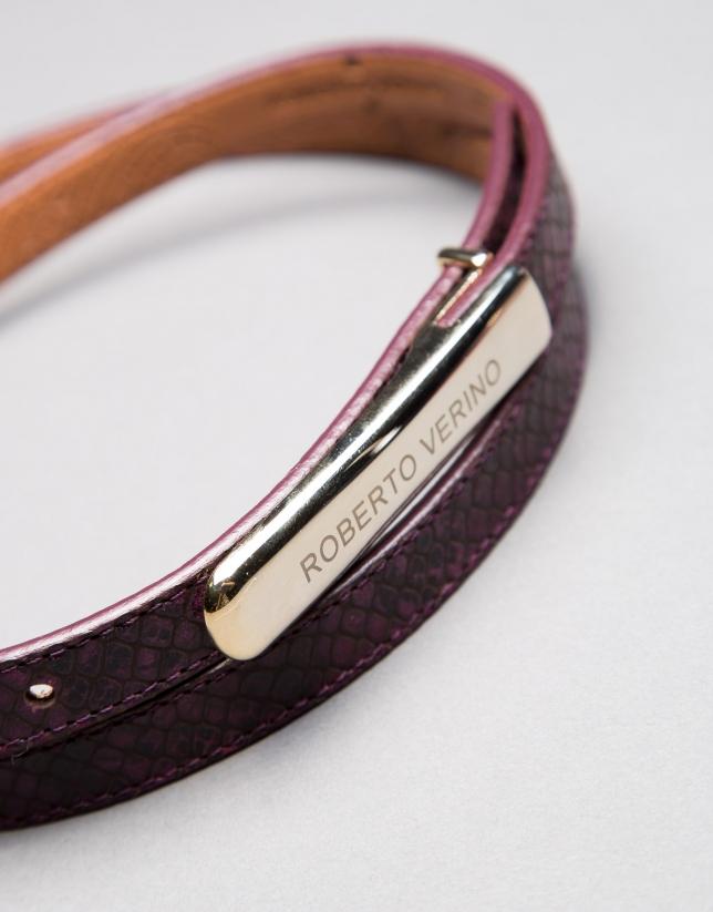 cinturon estrecho piel morado