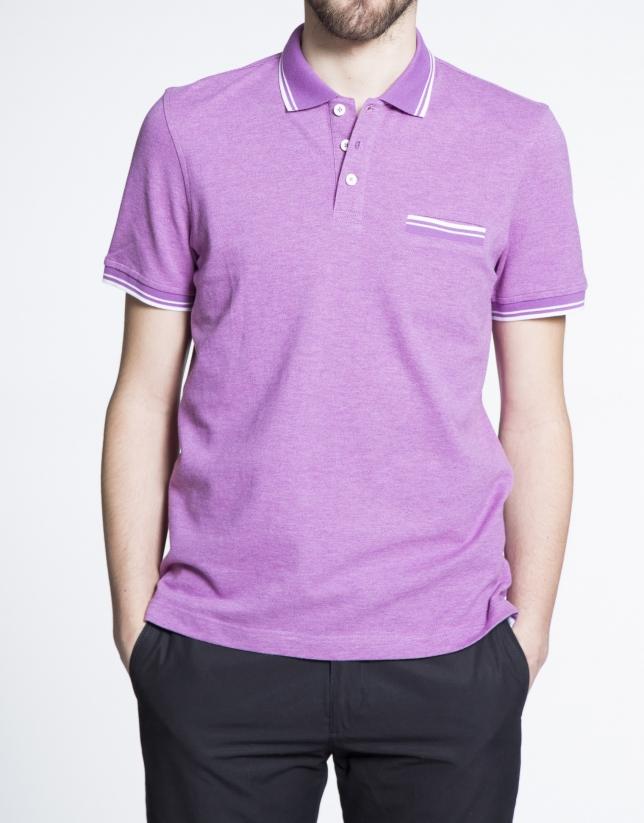 Polo en piqué mélange violet