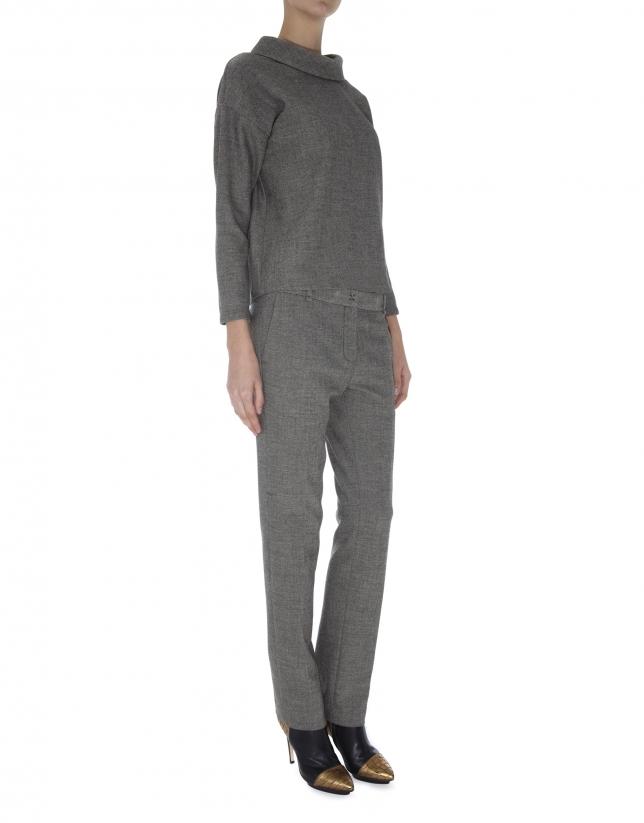 Pantalon droit , micromotif  œil de perdrix dans les tons gris