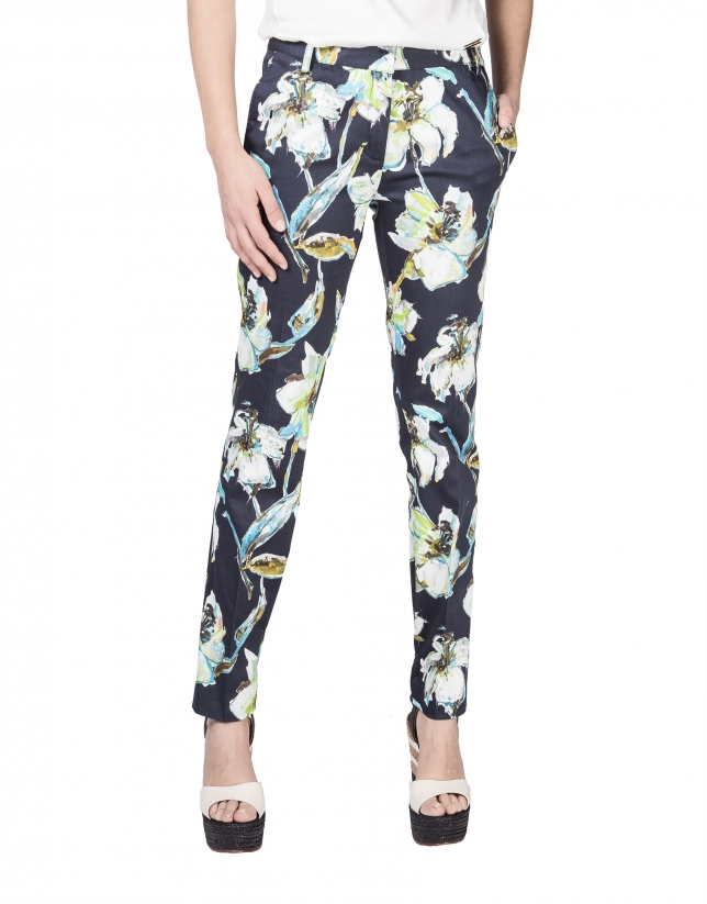 Straight floral print pants