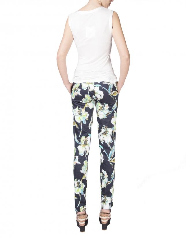 Pantalon droit à motif floral