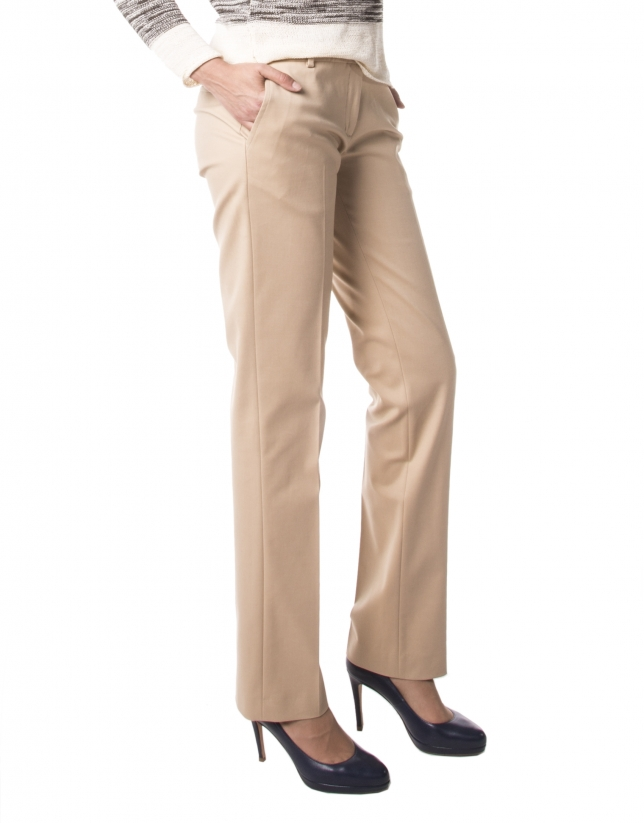 Straight camel pants