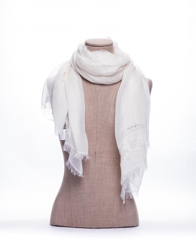 Plain white scarf