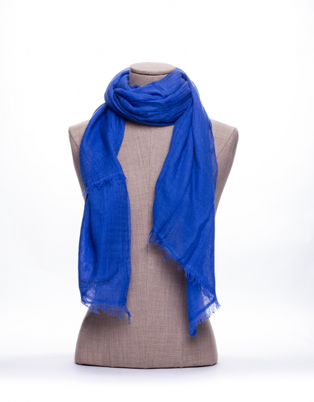 Plain blue scarf
