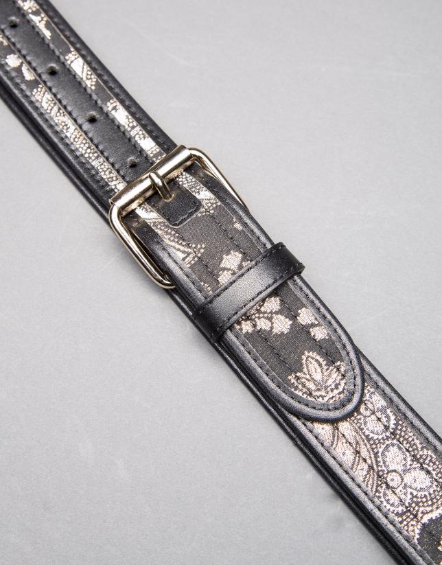 Cinturon jacquard negro