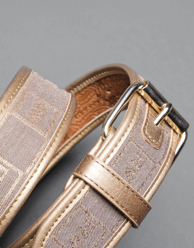 Brown / gold  jacquard belt