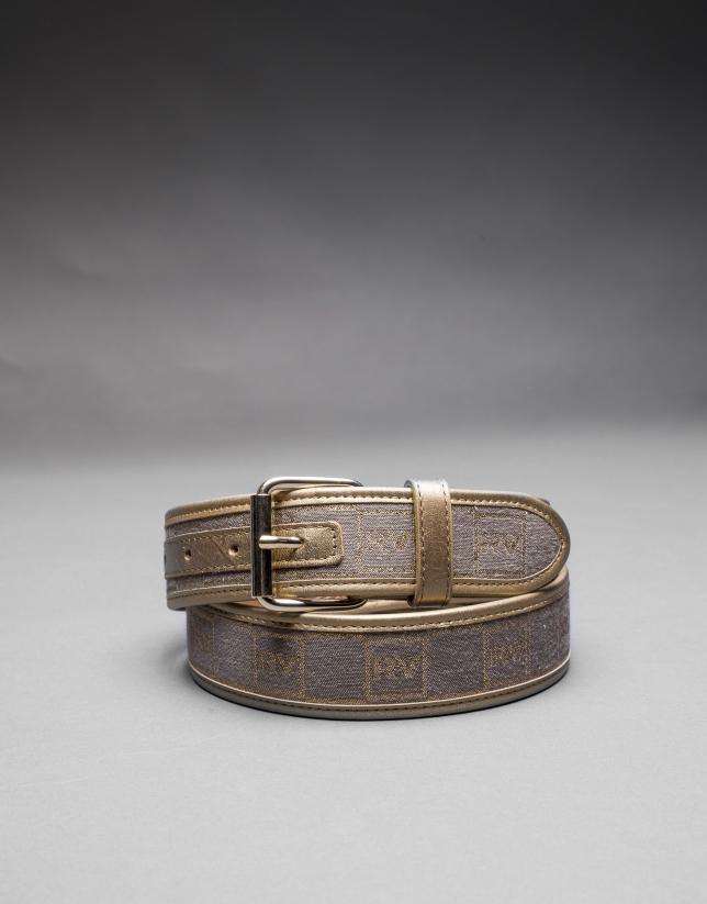 cinturon jacquard tostado/oro