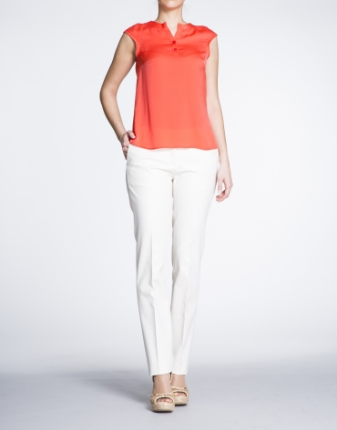 Ivory cotton straight pants