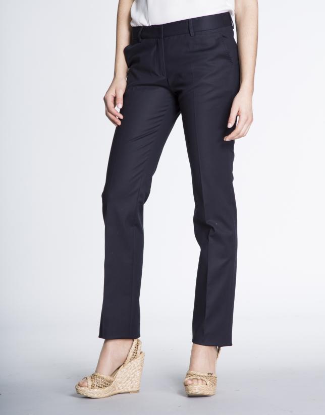 Navy blue cotton straight pants