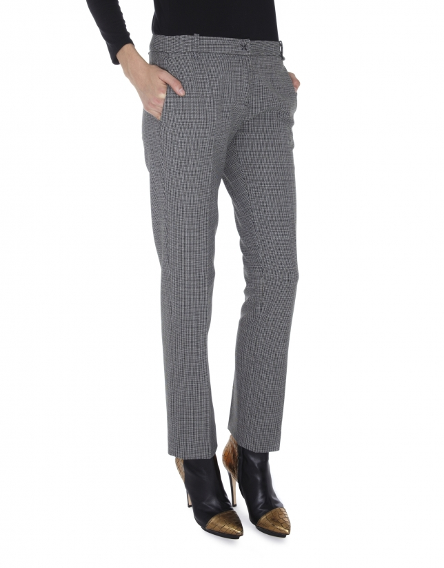 Pantalon droit, poche italienne, Cheviot gris