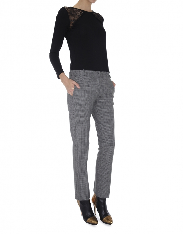 Gray tweed straight pants with French pocket