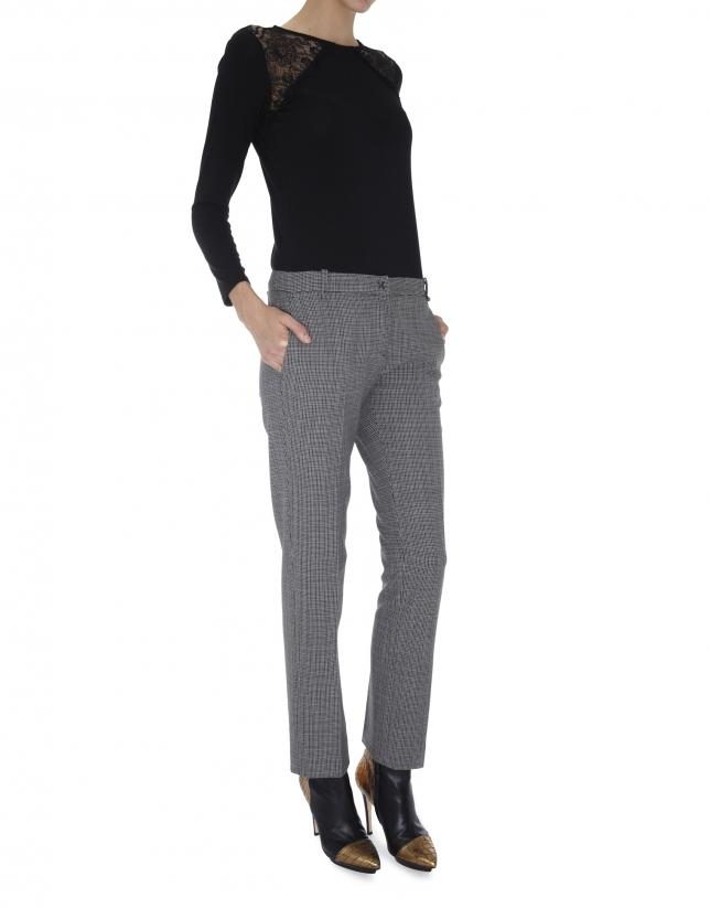 Pantalón recto bolsillo francés cheviot gris