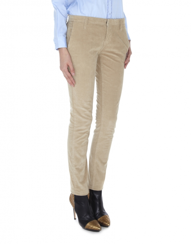 Beige corduroy straight pants with French pocket