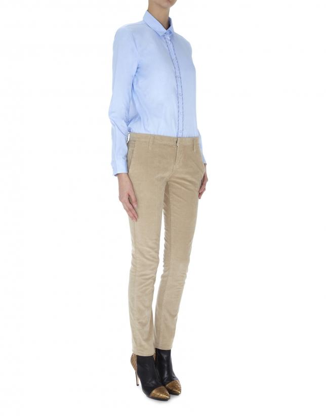 Pantalon droit, poche italienne, velours côtelé beige