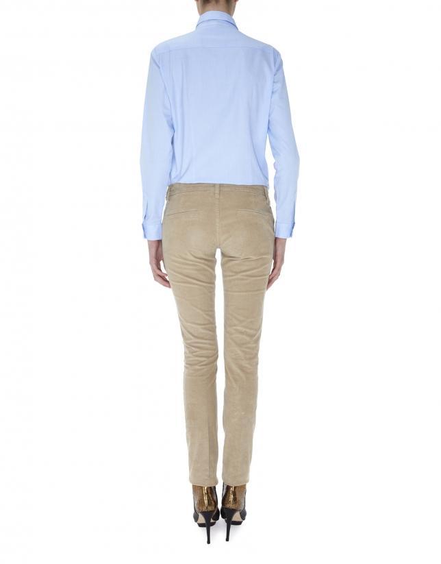 Pantalón recto bolsillo francés pana beige