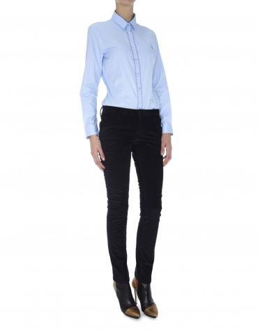 Pantalon droit, poche italienne, velours côtelé bleu nuit