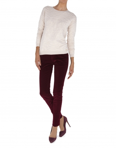 Pantalon droit, poche italienne, velours côtelé aubergine