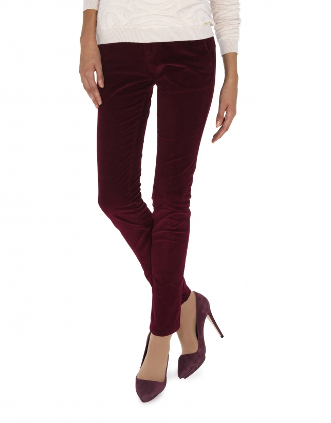 Burgundy straight corduroy pants with French pocket