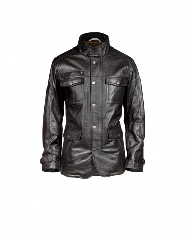 Casual brown leather jacket