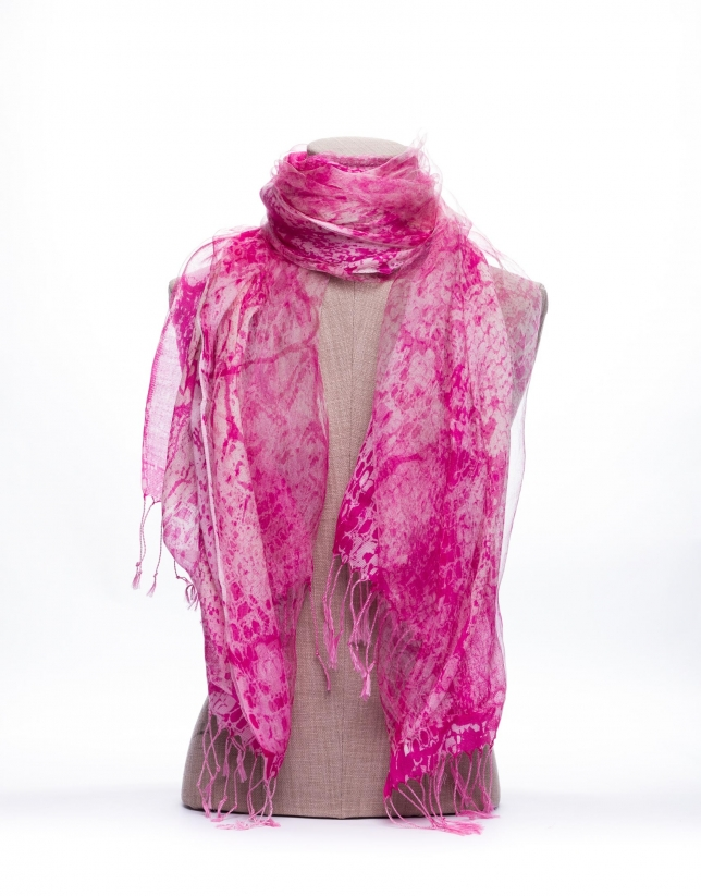 Double layer scarf with pink and beige print