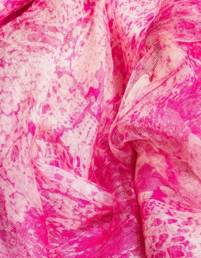 Étole double face à motifs tons roses et beiges
