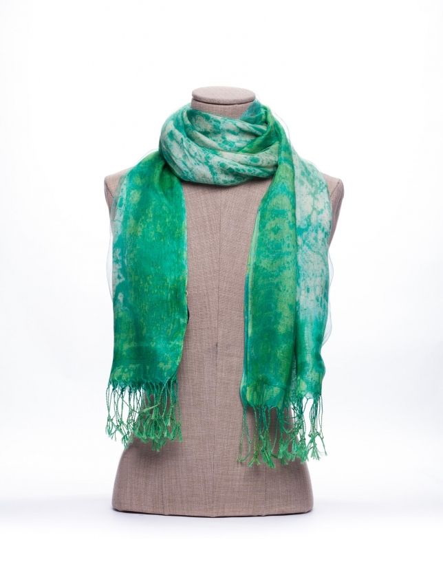 Double layer scarf with green and beige print