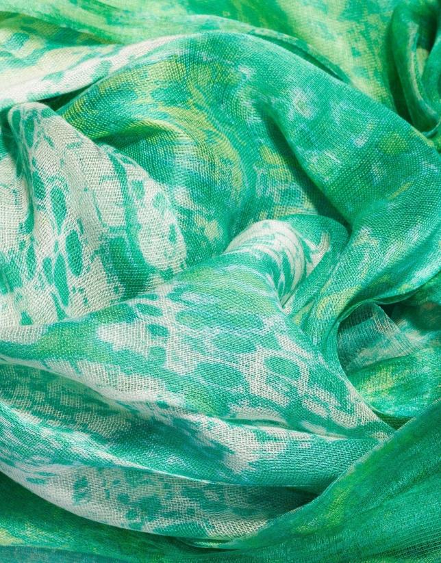 Étole double face à motifs tons verts et beiges