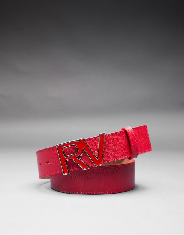 cinturon en piel rojo