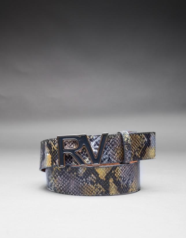 cinturon en piel gris/amarillo
