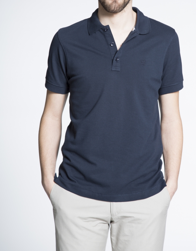 Navy blue pique top